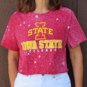 Iowa State Cyclones Custom Bleach Crop Top sz L